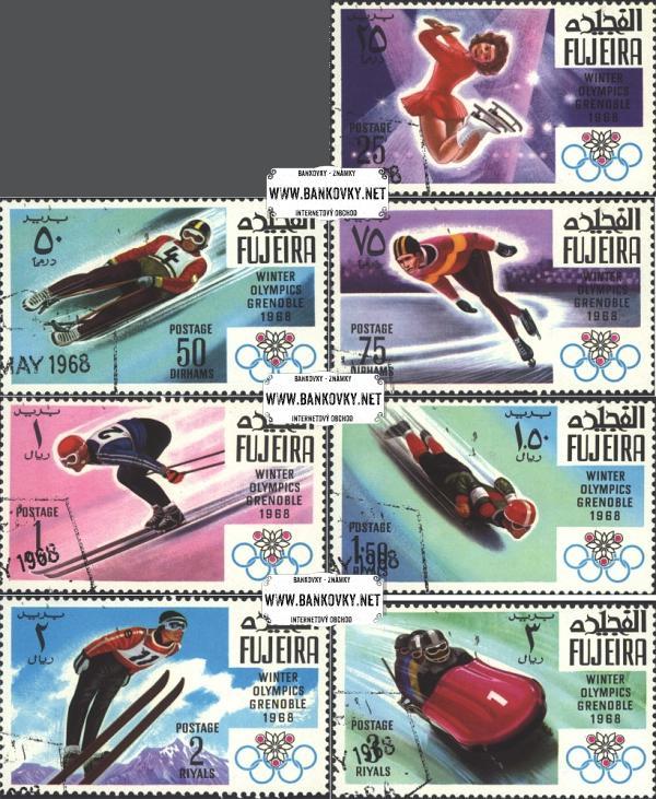 Známky Fujeira 1968 ZOH Grenoble, razítkovaná séria