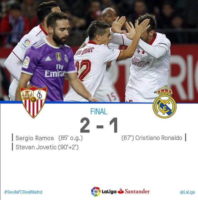 La Liga (Jornada 18): Sevilla FC 2 - Real Madrid 1