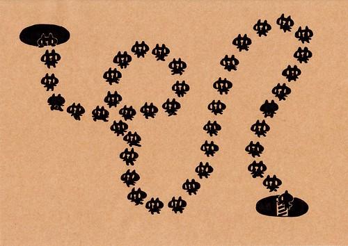 クラフト紙16_穴と穴の間を蛇行する黒プレーン