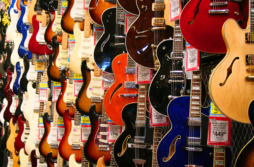 guitar wall guitar center had a grand opening of their new flickr. Black Bedroom Furniture Sets. Home Design Ideas