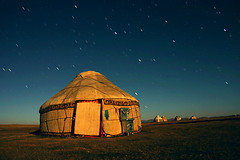 Yurt in Moonlight, Kyrgyzstan | by dwrawlinson