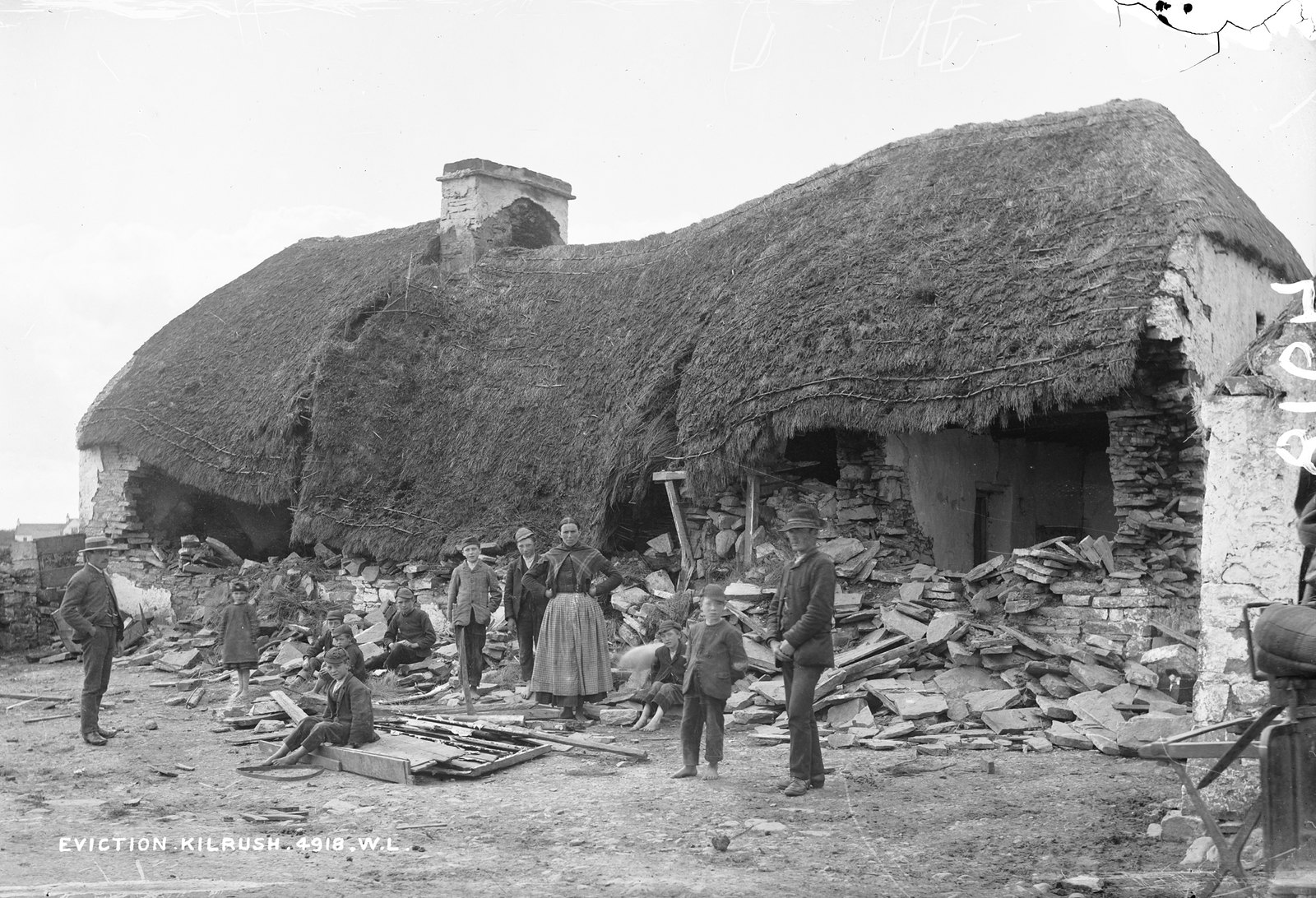 Mathias Magrath's house, Moyasta, Co.Clare after destruction by the Battering Ram | by National Library of Ireland on The Commons