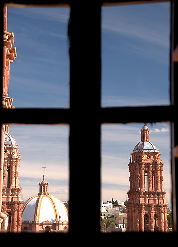 View of the cathedral through a window