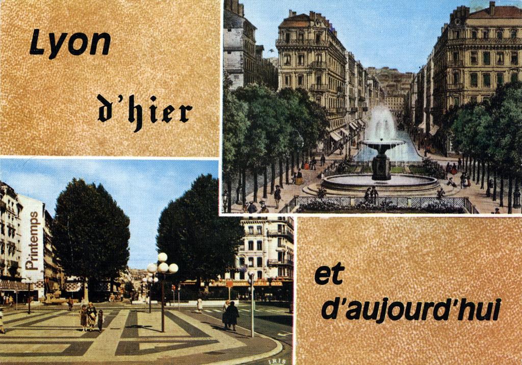 La place de la République à Lyon avant et après. Sans passer pour le nostalgique de service, je ne comprends pas ce qu'ils leur a pris ?
