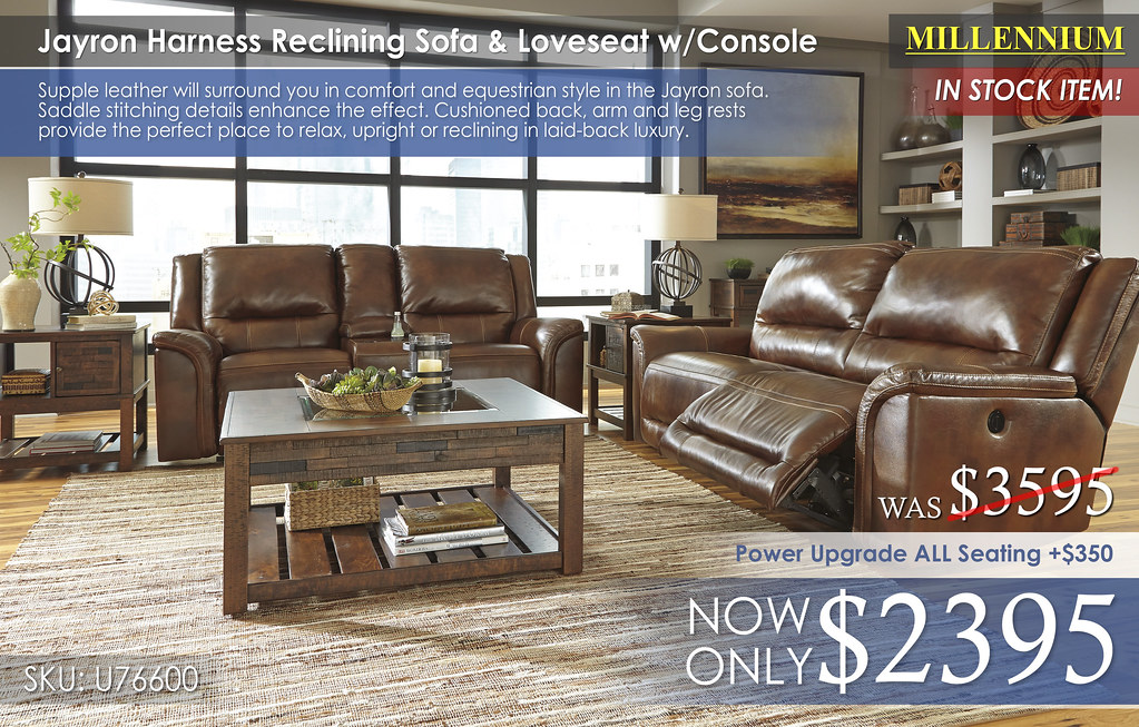 Jayron Harness Reclining Sofa & Loveseat w Console U76600
