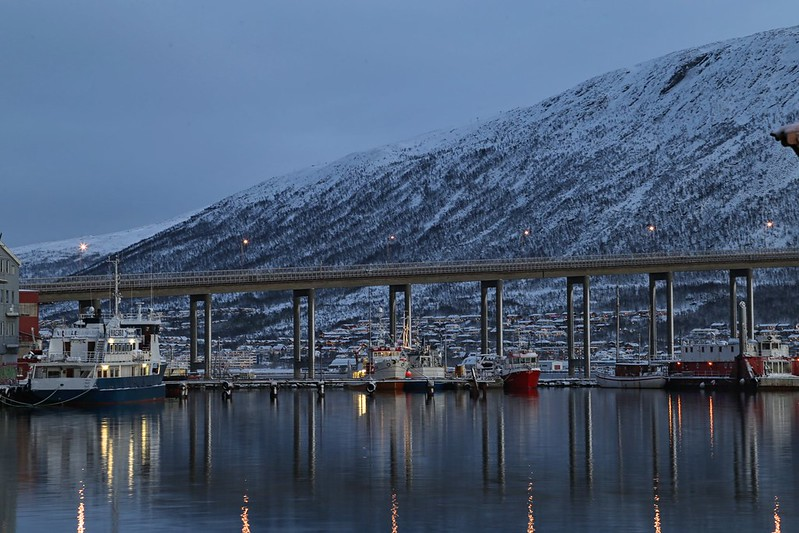 Boats and bridge Tromso Norway