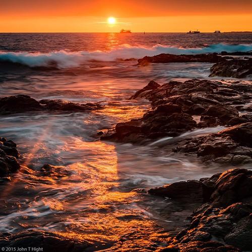 River Water Texture Map Dramatic Kona Sunset a...