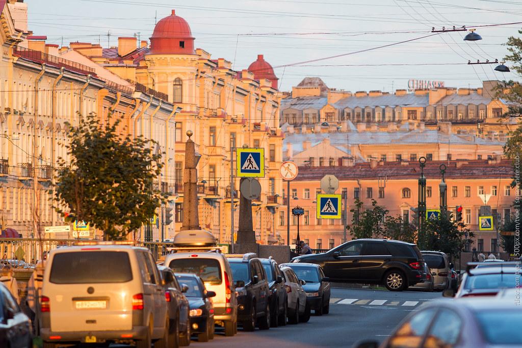 Закат на канале Грибоедова в Санкт-Петербурге