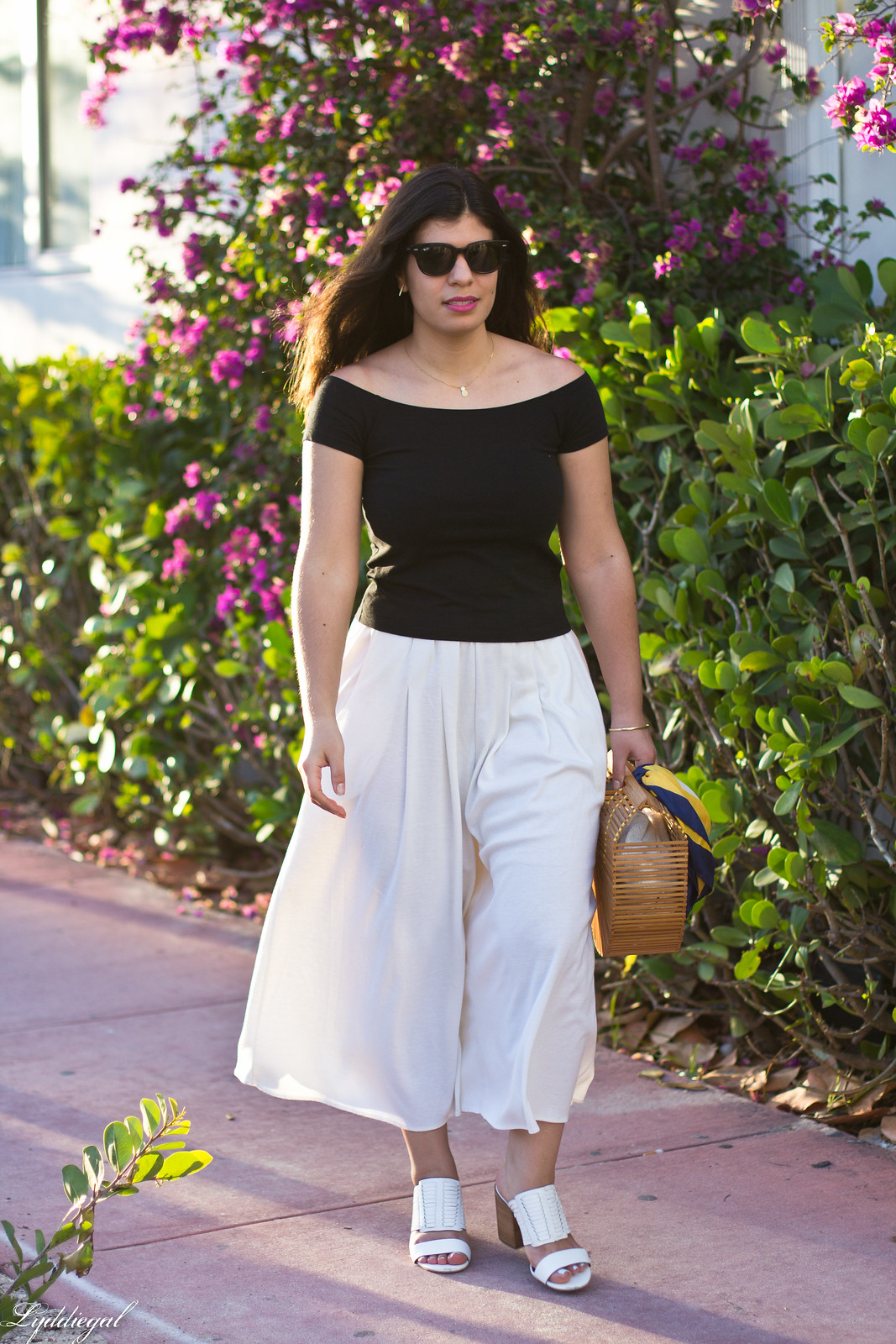 black off the shoulder tee, culottes, mules, bamboo handbag-3.jpg