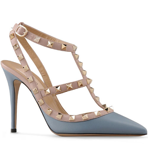 345f5ee8bca ... Valentino Rockstud 100mm Slate Blue Leather T-Strap Sandals Slingback