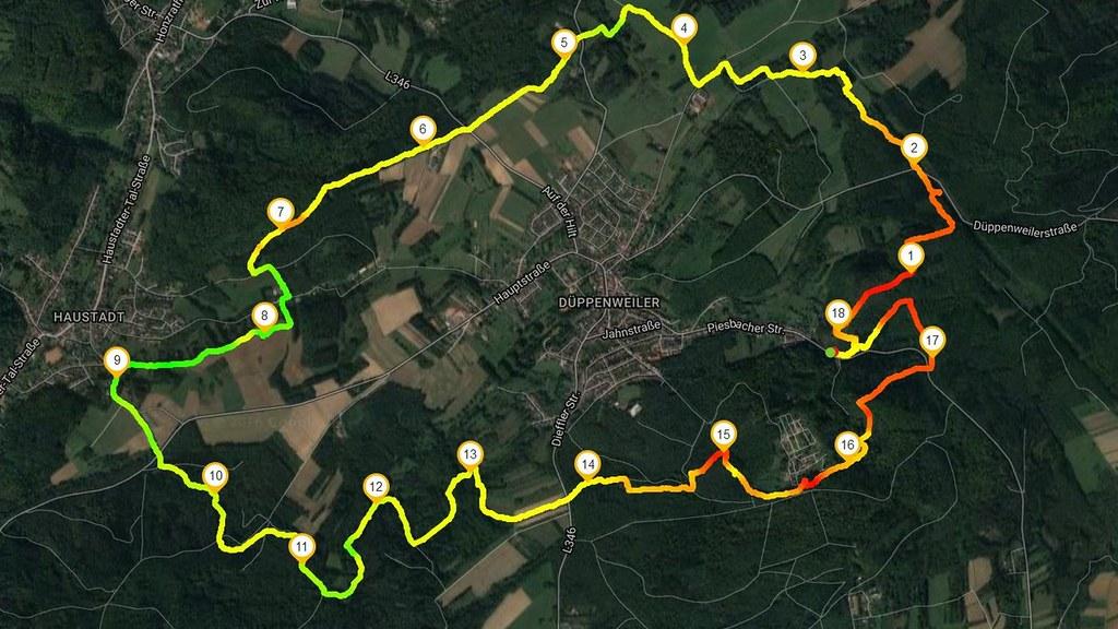 Traumschleife Litermont Sagenweg auf Runtastic (farbige Höhenmeter)