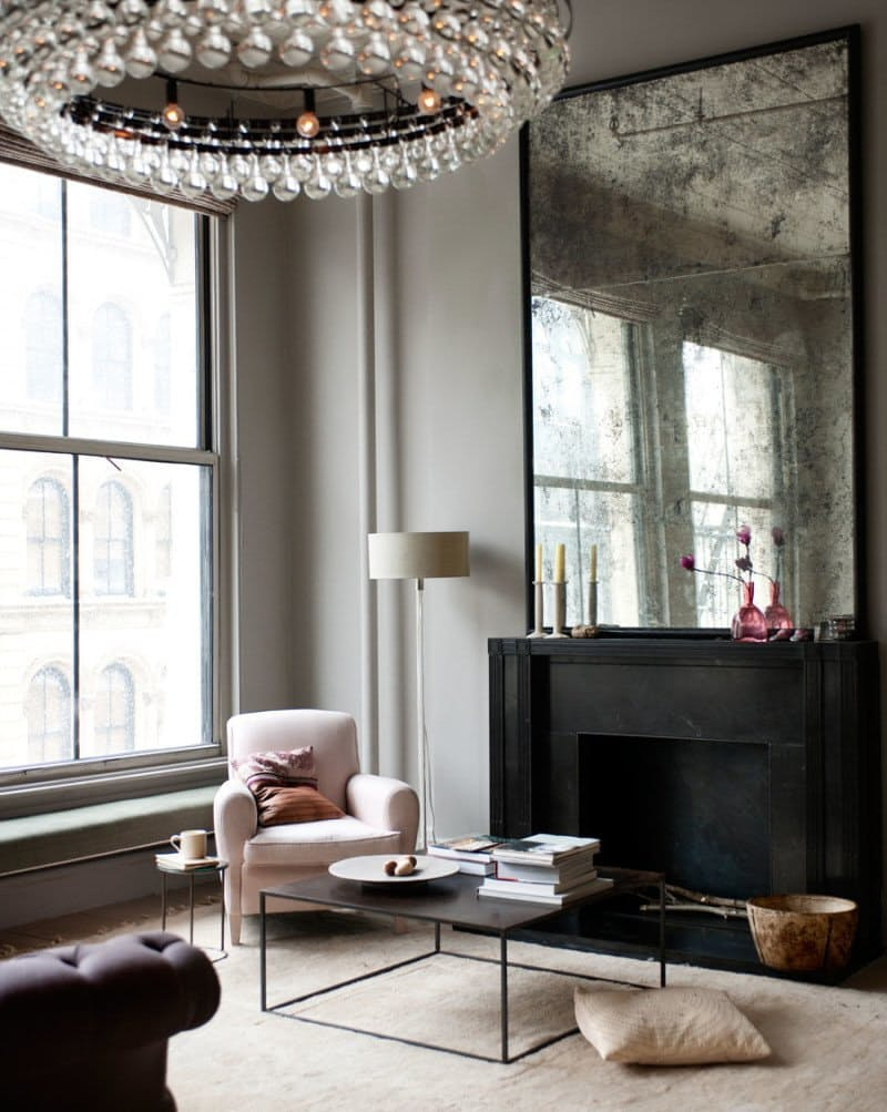 Glam Gray and Taupe Living Room Large Distressed Mirror Poised Taupe - Sherwin William's 2017 Color of the Year