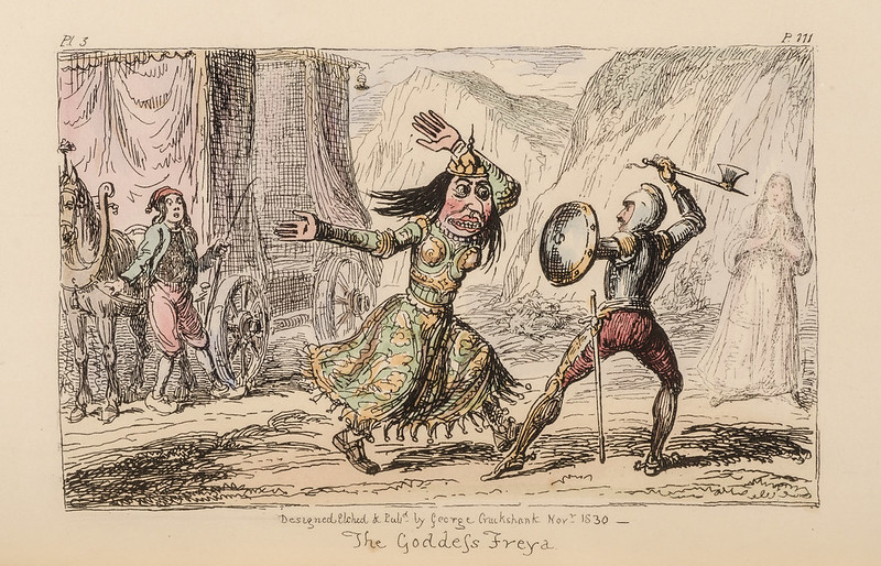 "George Cruikshank - ""The Goddess Freya"" colored Illustration from ""Letters On Demonology And Witchcraft"" by Walter Scott, 1830"