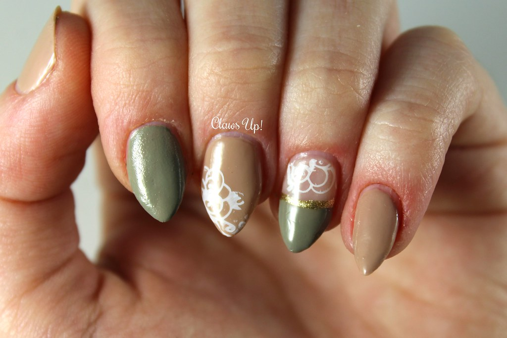 Neutral and lace nail art
