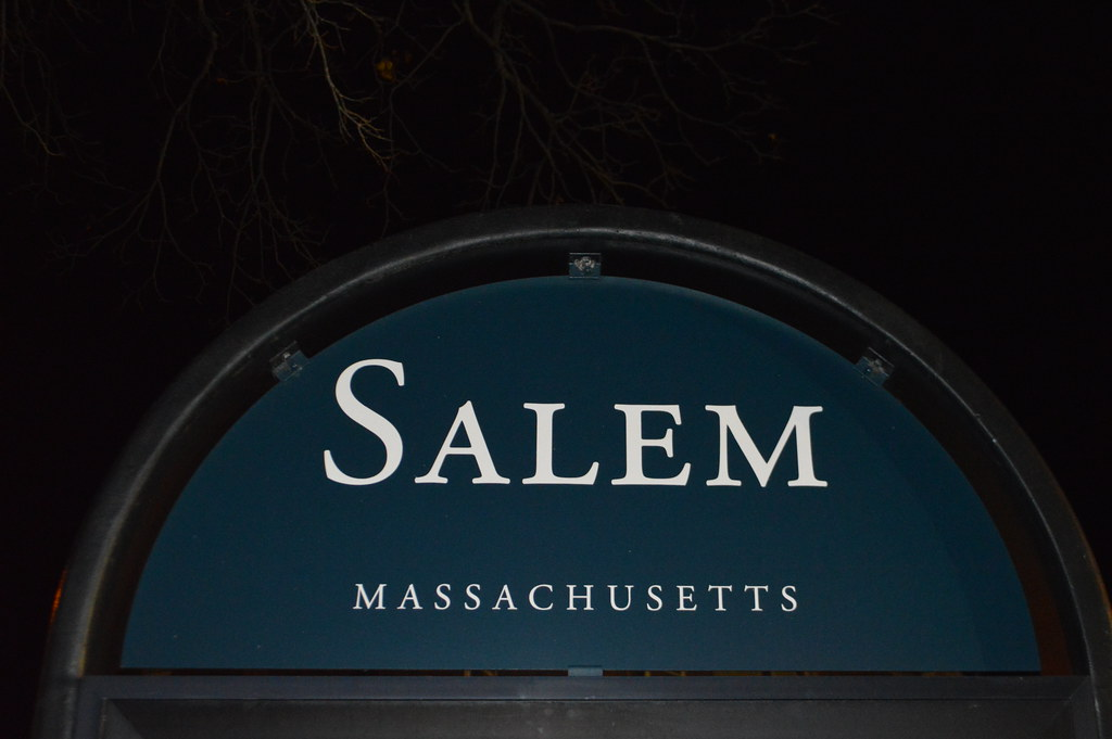welcome to salem massachusetts sign during haunted happenings happy halloween the blessed samhain festival