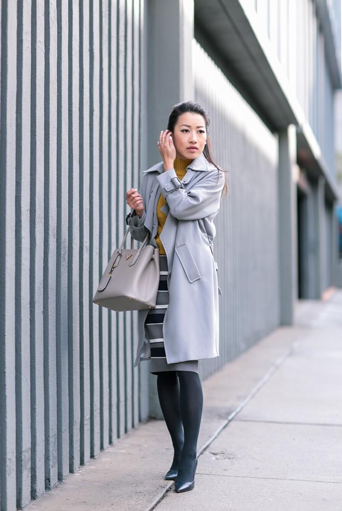 chicwish gray drape trench coat professional style