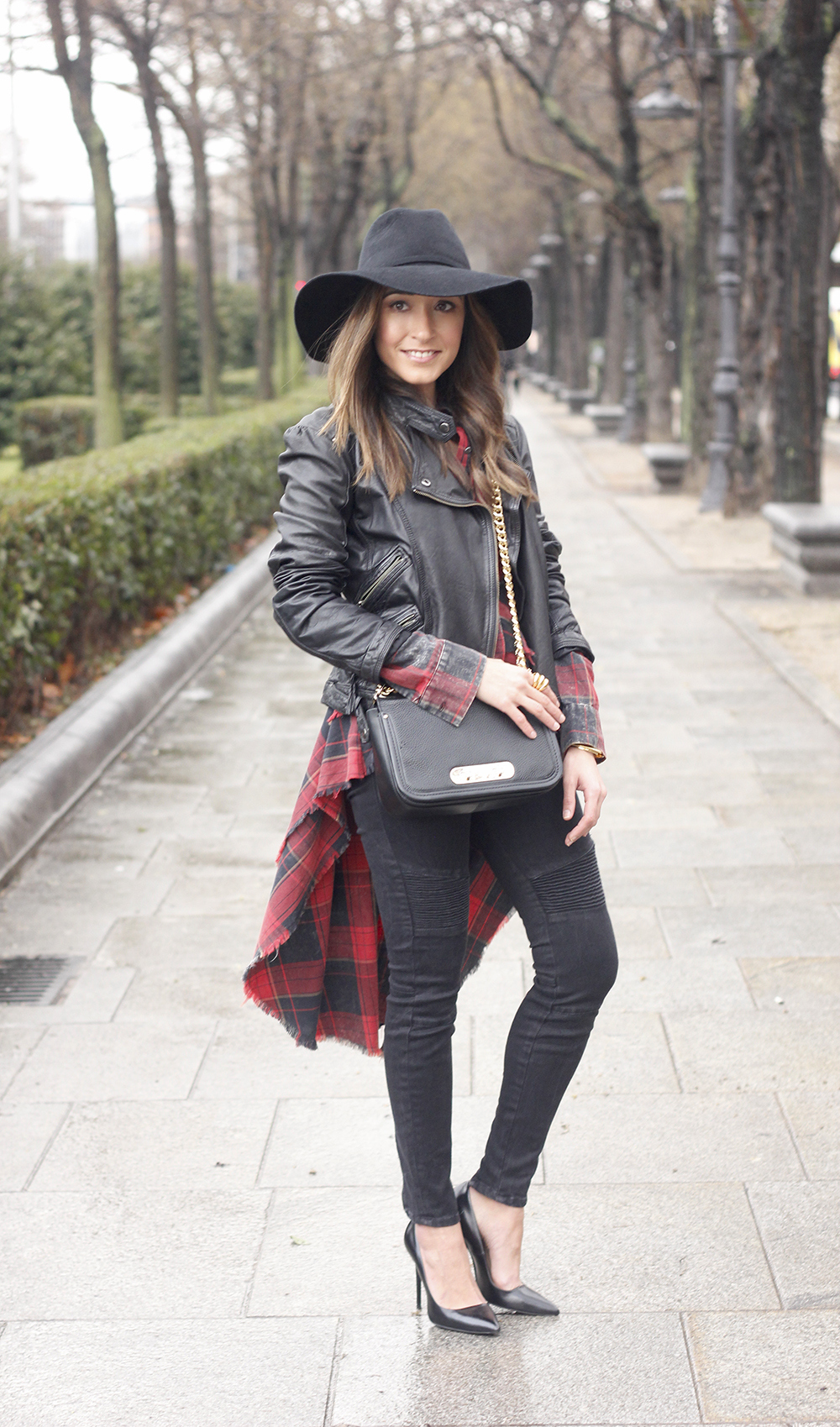 Shirt with tartan print and frills black jeans coach bag heels accessories style fashion outfit03