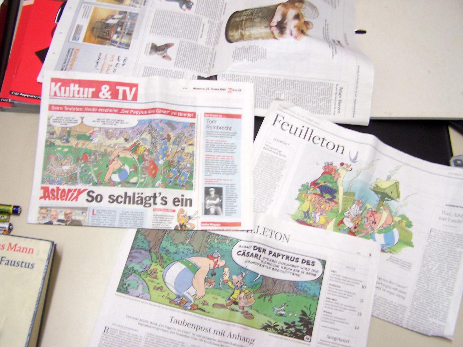 Der Papyrus des Cäsar in der Süddeutschen, der Welt und der tz vom 22. Oktober 2015