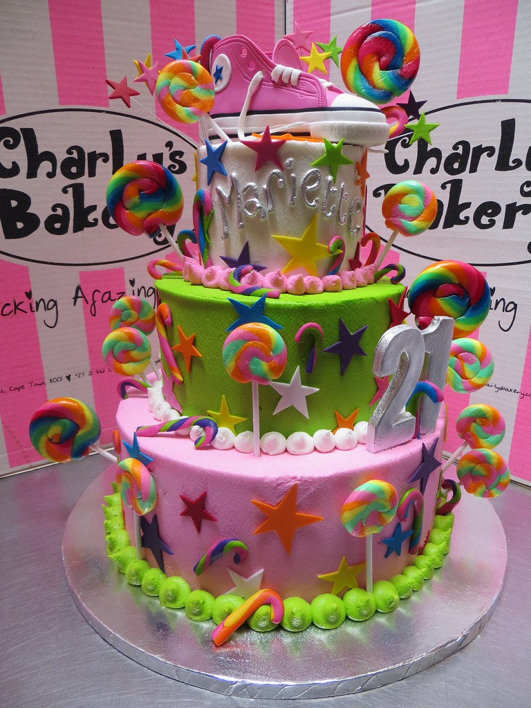 3 Tier 21st Birthday Cake Decorated With 3d Pink Converse Flickr