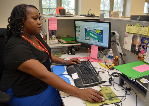 Shray Jackson, an administrative support specialist in the Forest Service Washington Office, working