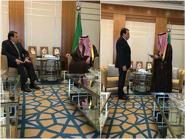 El Embajador Alfredo Miranda Ortiz presentó copia de las cartas credenciales ante el Reino de Arabia Saudita