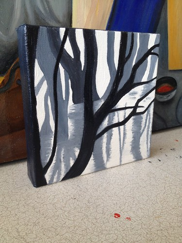 Working on first of a series of small paintings of trees. | by Membrane7