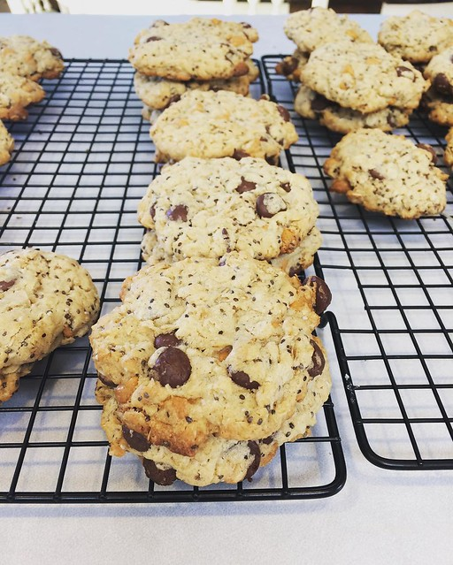 More lactation cookies, this time with a mixture of dark chocolate and butterscotch chips, mmmmmm.