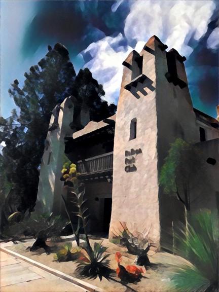 Pueblo revival style.