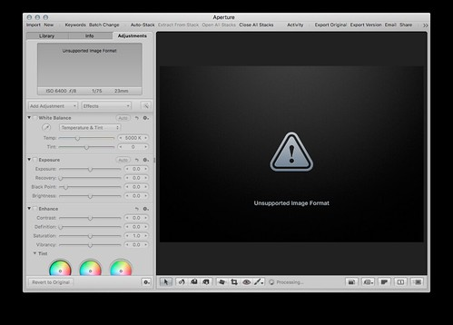 Aperture is not supporting 32 Bit editing