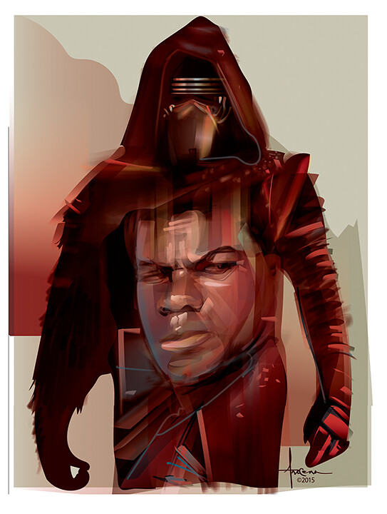 Star Wars: The Force Awakens Adversaries By Orlando Arocena - Finn vs Kylo Ren
