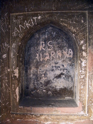 Names scratched into the walls of the Baby Taj in Agra, India