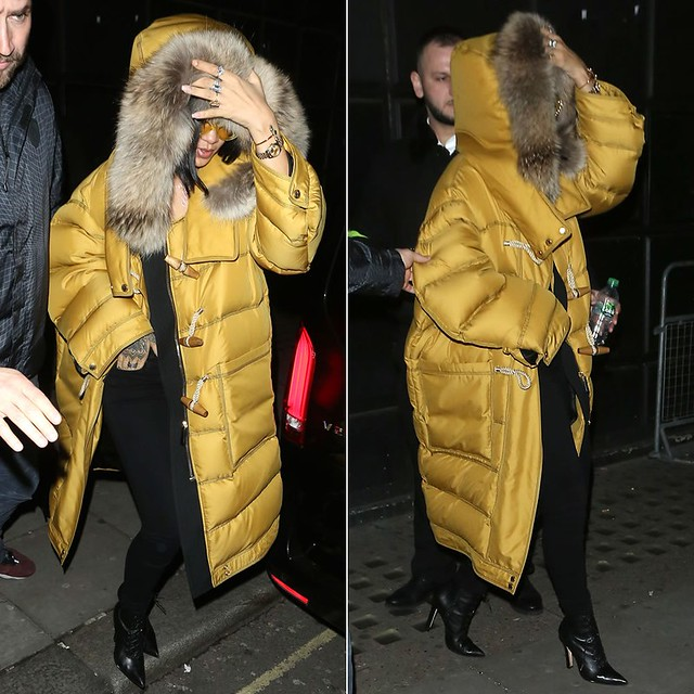 Raf Simons,  Raf Simons puffer coat,  Raf Simons oversized padded coat, padded coat, bright yellow sporty heels, toggle coats, mustard yellow coat, duffle and padded coat, mustard yellow padded coat, Burberry down filled duffle coat, duffle coat, padded c