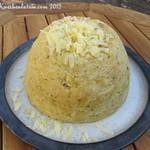 Gedämpfter Porree und Cheddar-Käse Pudding