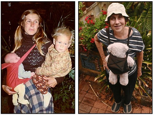 Jill used her old baby sling from 1980 as a pattern to make a new one in 2017