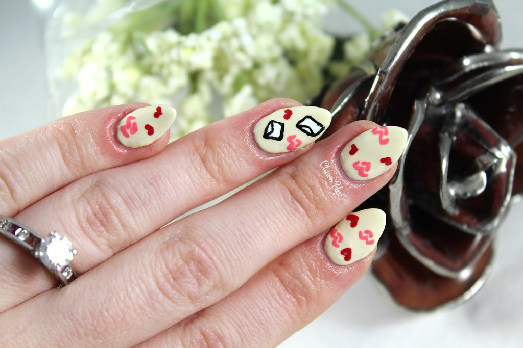 Love letter nail art for Valentine's day
