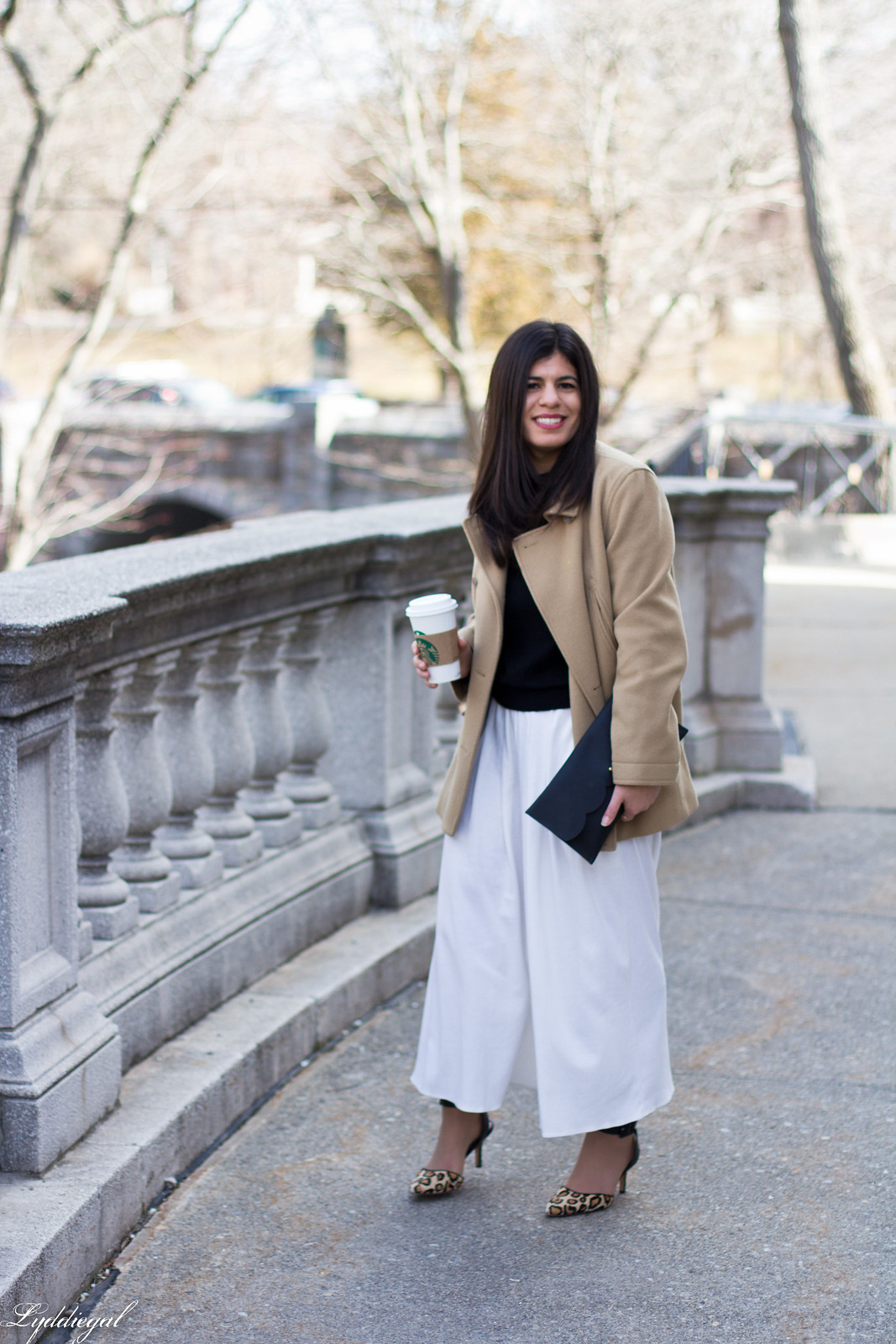 white culottes, black sweater, camel coat, leopard heels, matine clutch-2.jpg