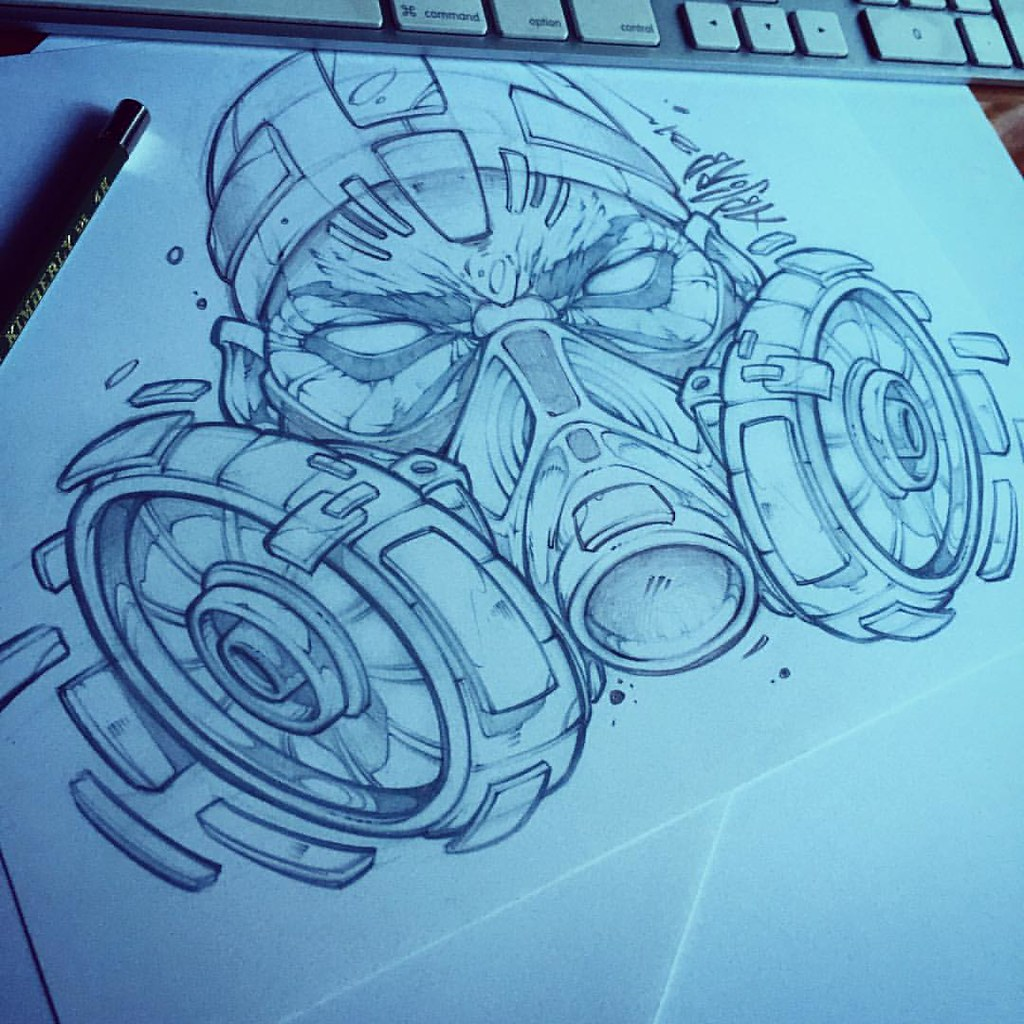 Character Design Tips Tattoo : Trying some new things respirator mask absorb art