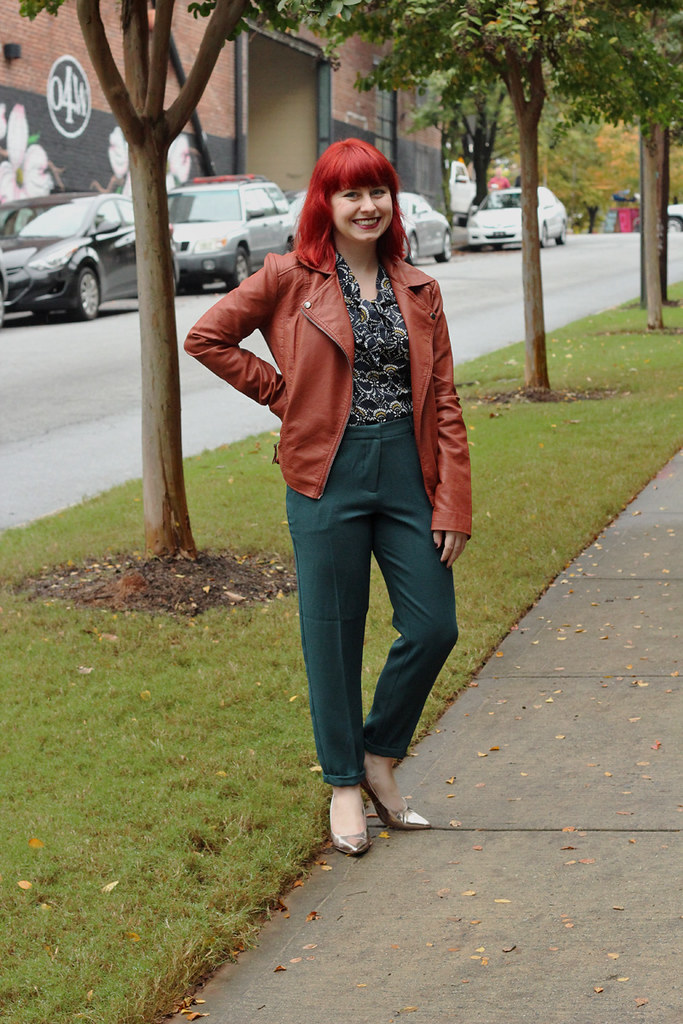 Brown Leather Jacket, Forest Green Pencil Trousers, Navy Blue Blouse, and Rose Gold Pumps