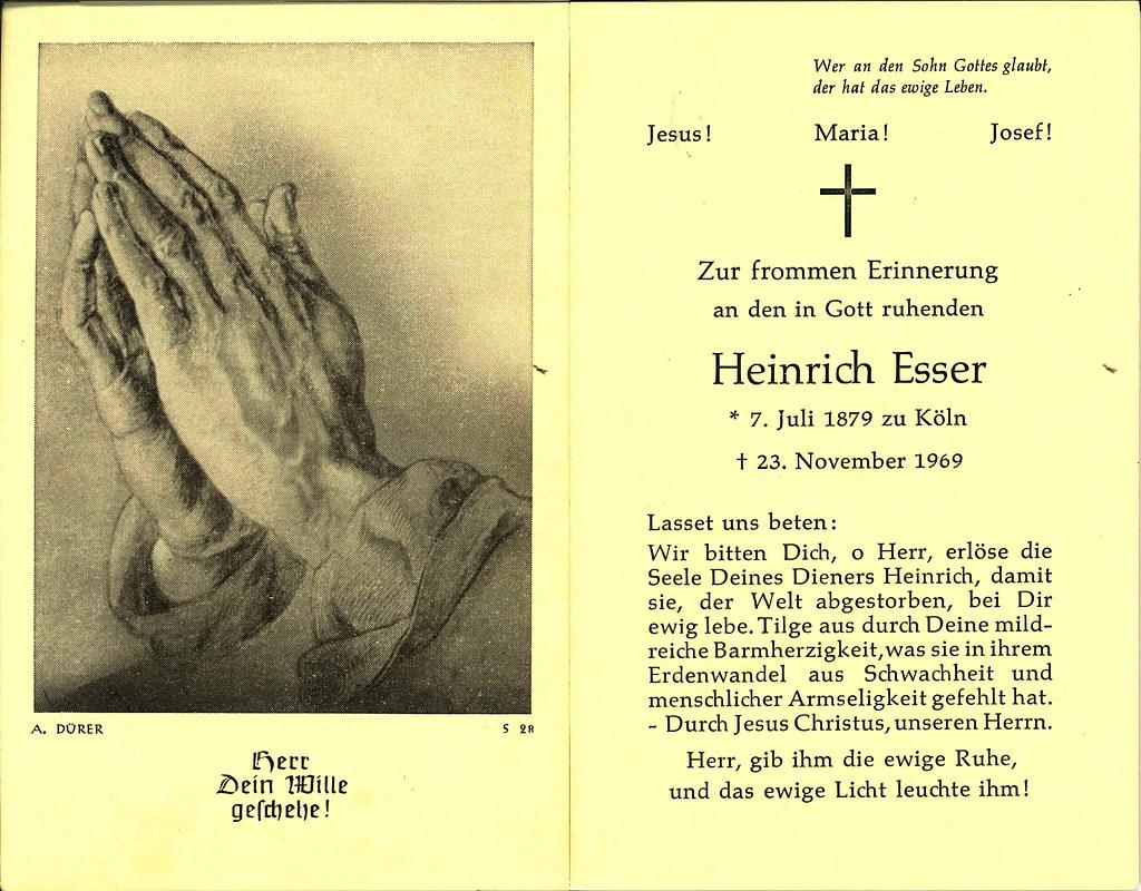 Totenzettel Esser, Heinrich † 23.11.1969