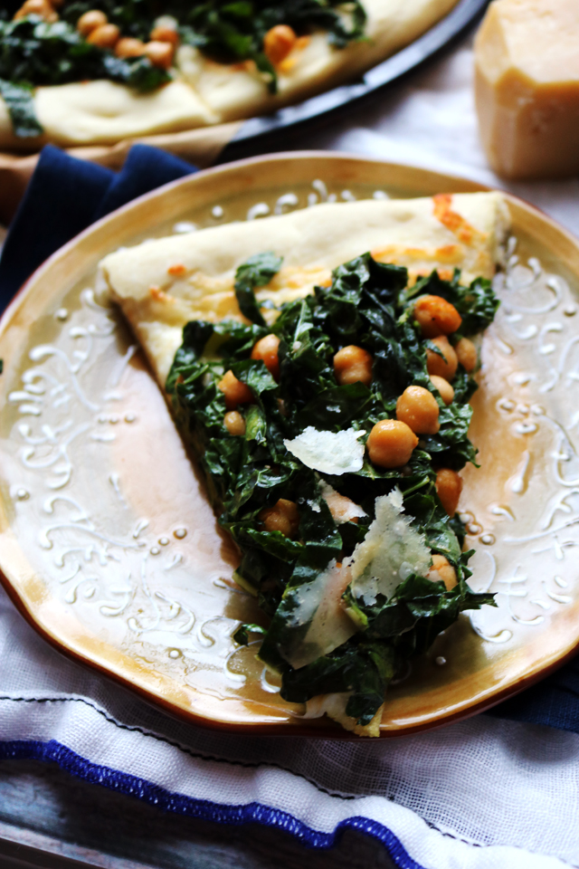 Mozzarella and Kale Caesar Pizza with Crispy Chickpeas