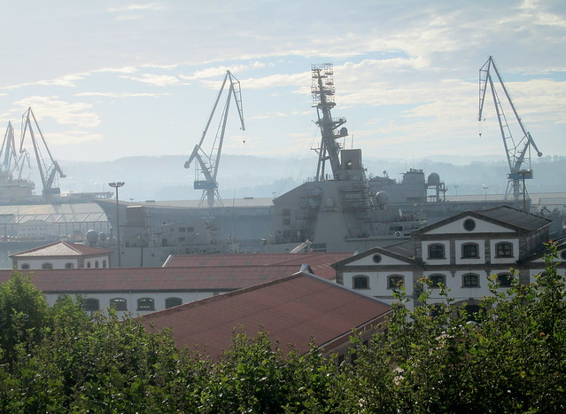 Aircraft Carrier in Dock at Ferrol