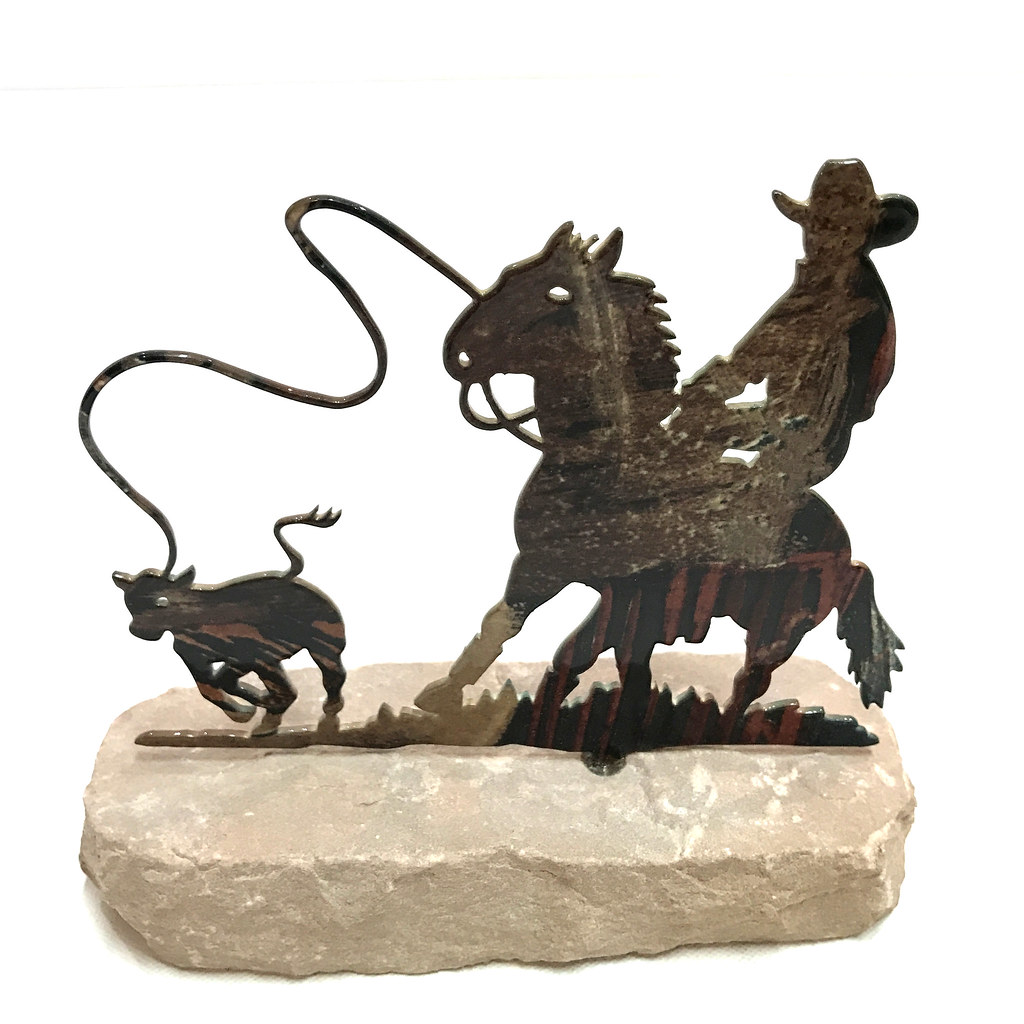 Horse Western Home D Cor Accessories Equestrian Themes: Western Home Decor Metal Cowboy Roper Horse Paperweight