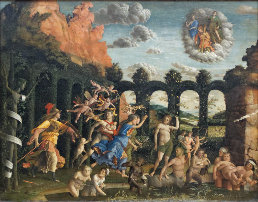 *The Triumph of the Virtues* (also known as Minerva Expelling the Vices from the Garden of Virtue). Mantegna, 1502. Cover art for Bernard Williams's book on Morality.