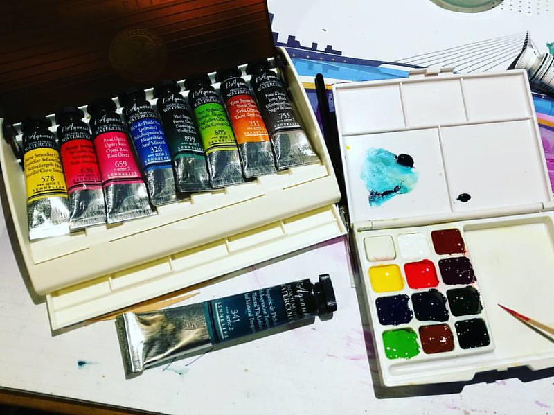 On my desk last night, making my own pocket watercolor set by reusing a Koi watercolor sketch set and filling it with Sennelier artist grade water colors. Got the Sennelier set from my hubs @cornelius.grayl as a present :) The koi colors were not my thing