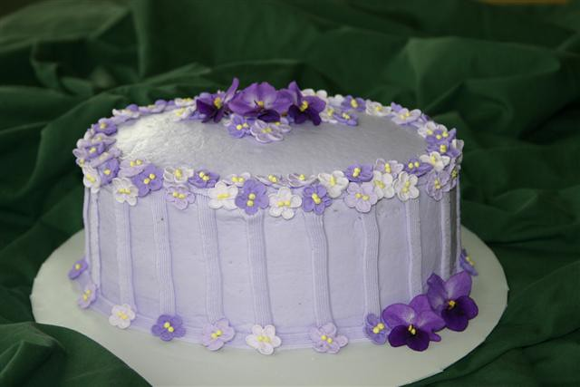 Violet Birthday Cake Accented with royal icing violets