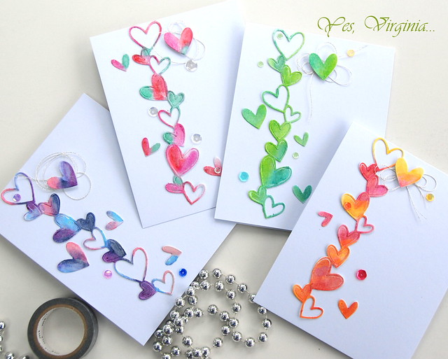 set of heart cards