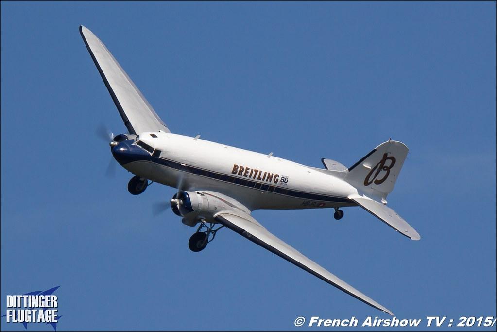 DC-3 BREITLING , HB-IRJ ,flydc3 , Douglas DC-3 Breitling, Dittinger Flugtage 2015 , Internationale Dittinger Flugtage, Meeting Aerien 2015