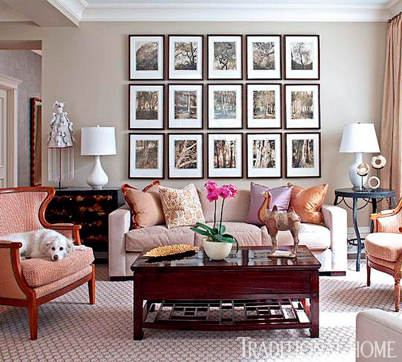 Pale Pink Living Room Gallery Wall Over Sofa Bleeker Beige Paint Benjamin Moore - Poised Taupe Sherwin William's 2017 Color of the Year