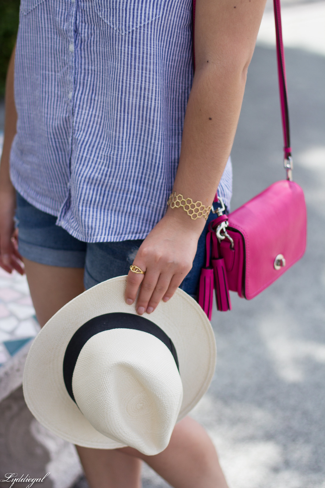 striped shirt, denim shorts, panama hat, pink coach penny bag-5.jpg