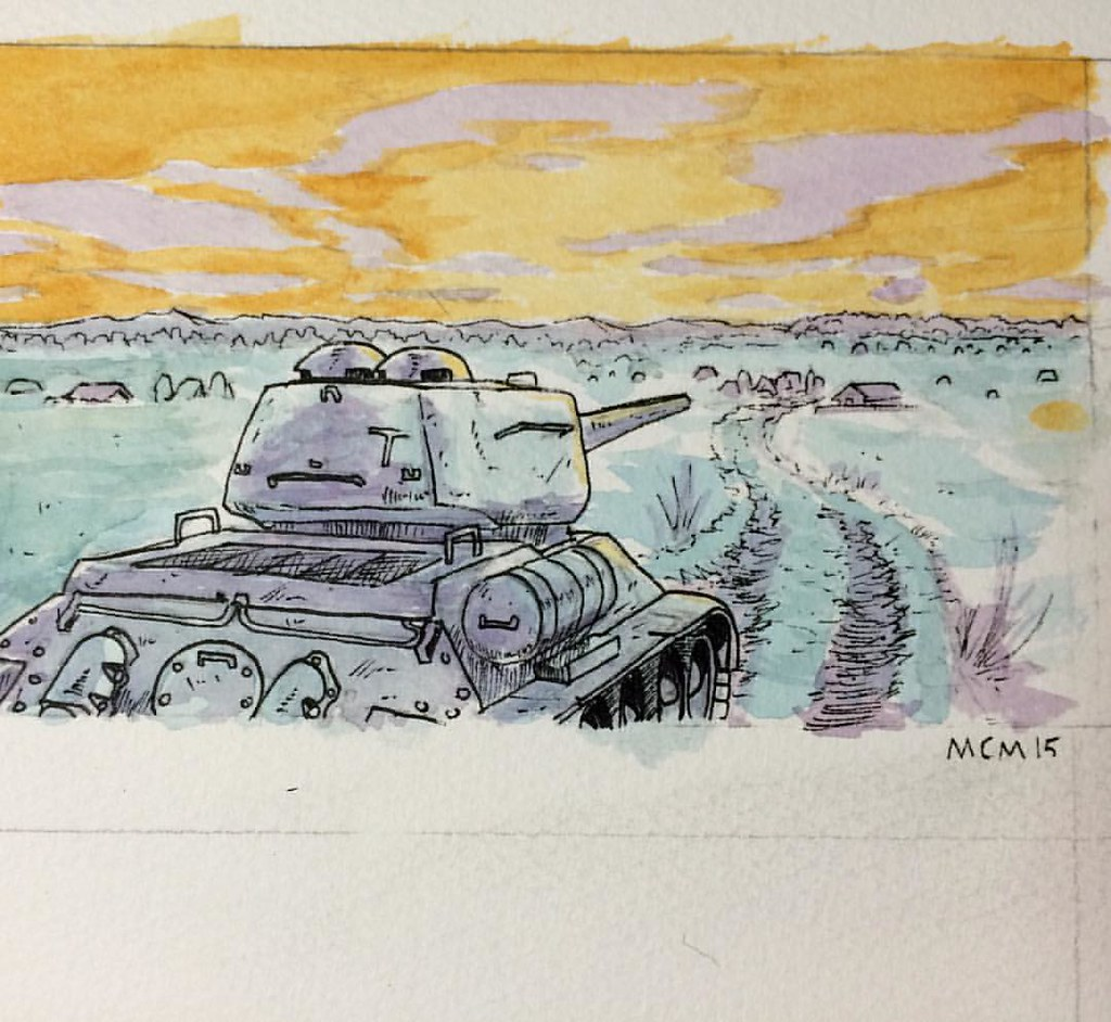 3rd quick attempt at watercolors learning by staring at m flickr t34 tank publicscrutiny Image collections